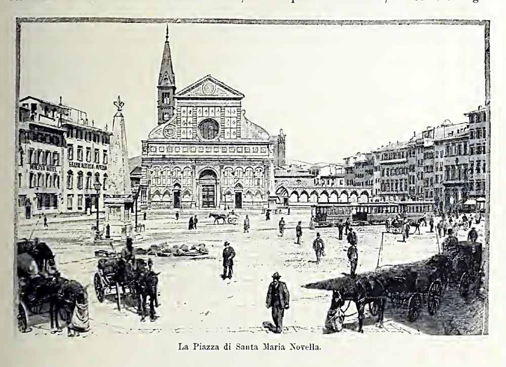 Firenze - La piazza di Santa Maria Novella - immagine tratta da Firenze e la Toscana di E.Muntz - 1899 - Fratelli Treves Editori