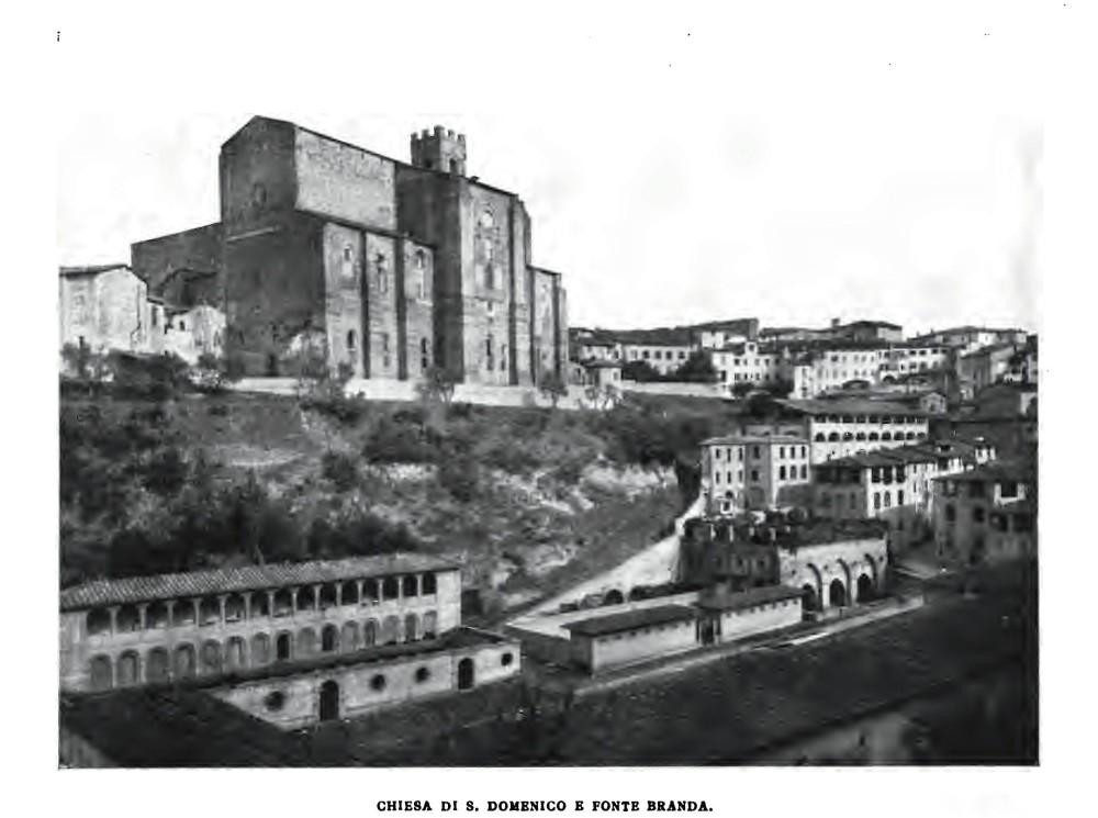 """Siena - S.Domenico e Fonte Branda - immagine tratta dal libro di Rusconi A.Jahn """"Siena"""" - 1907"""
